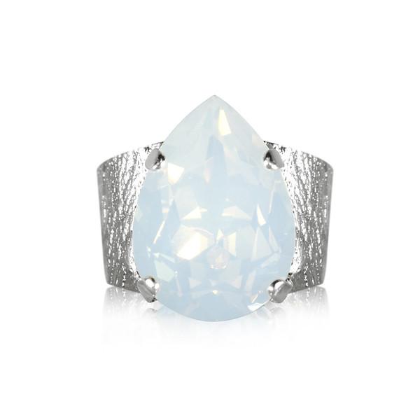 Classic Drop Ring / White Opal Rhodium