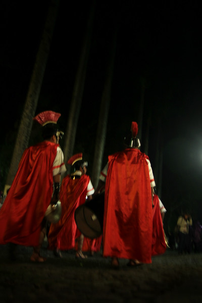 Roman soldiers move through the streets of Antigua, Guatemala on March 10, 2013 as part of Lent celebrations and preparations. Photo by Scott Umstattd