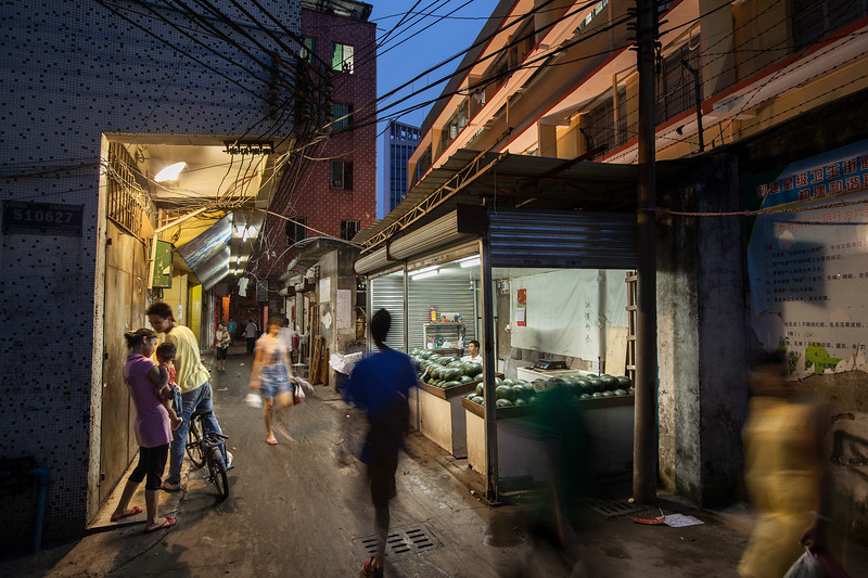Narrow alleyway leading to a community in east Tianhe district, Guangzhou.