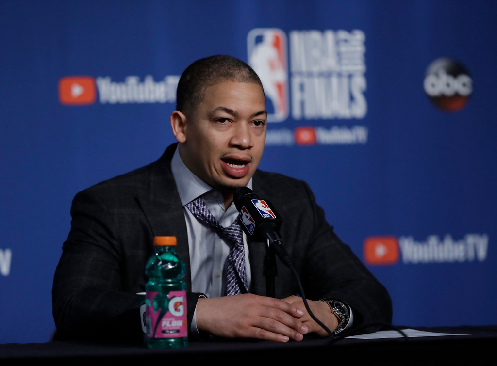. Cleveland Cavaliers coach Tyronn Lue speaks during a news conference following Game 3 of basketball\'s NBA Finals, Wednesday, June 6, 2018, in Cleveland. The Golden State Warriors defeated the Cavaliers 110-102 to take a 3-0 lead in the series. (AP Photo/Tony Dejak)