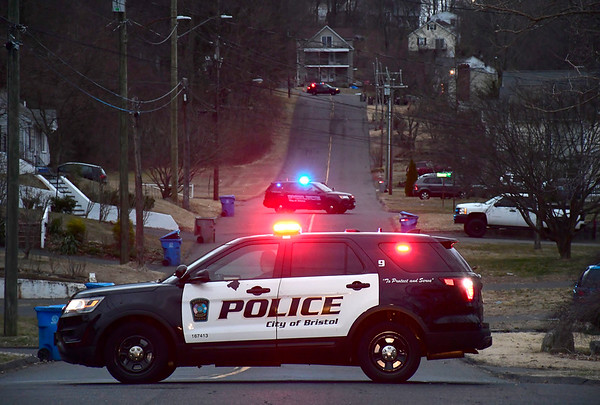 3/12/2020 Mike Orazzi | Staff Bristol Police on Moody Street after a resident found an unexploded ordnance Thursday evening. The state police bomb squad was called in to remove the device.