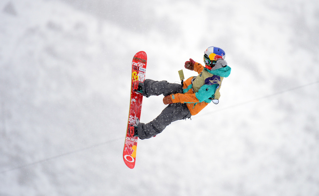 . VAIL, CO. - MARCH 1: Yuki Kadono catches air during the men\'s slopestyle final of Burton U.S. Open. March 1, 2013. Vail, Colorado. McMorris won the final. (Photo By Hyoung Chang/The Denver Post)