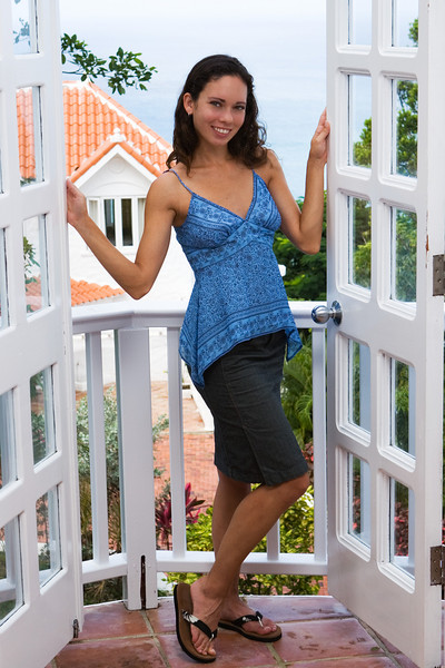 Tina on the balcony off our bedroom