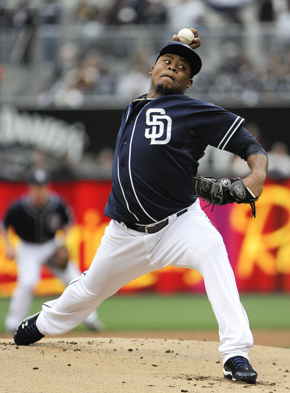 . SAN DIEGO, CA - APRIL 13: Edinson Volquez #37 of the San Diego Padres pitches during the first inning of a baseball game against the Colorado Rockies at Petco Park on April 13, 2013 in San Diego, California. (Photo by Denis Poroy/Getty Images)