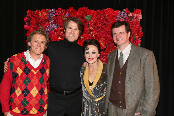 From left, cast members Miles Anderson, Erik Heger, Tracie Bennett and Michael Cumpsty pose backstage after the opening night performance of
