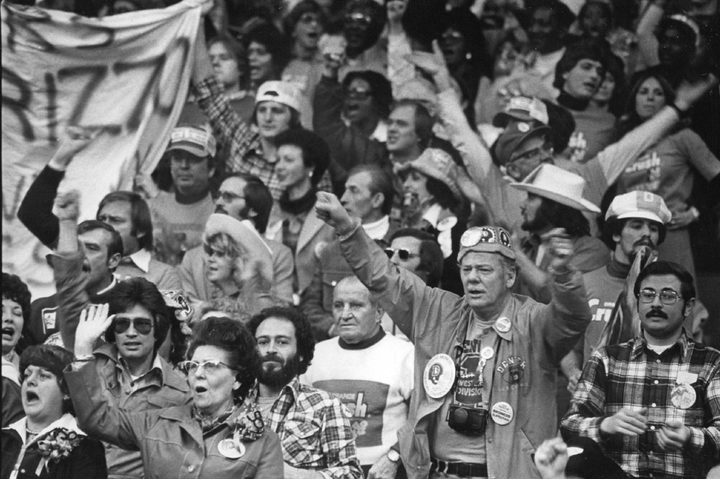 ". JAN 18 1978 - \'Orange Crush\' Fans Cheer for the Broncos in Sunday\'s Super Bowl Game in New Orleans Police gave Denver fans an ""A\"" for their conduct; Denver fans gave that city slightly lower grade. (Kenn Bisio/The Denver Post)"