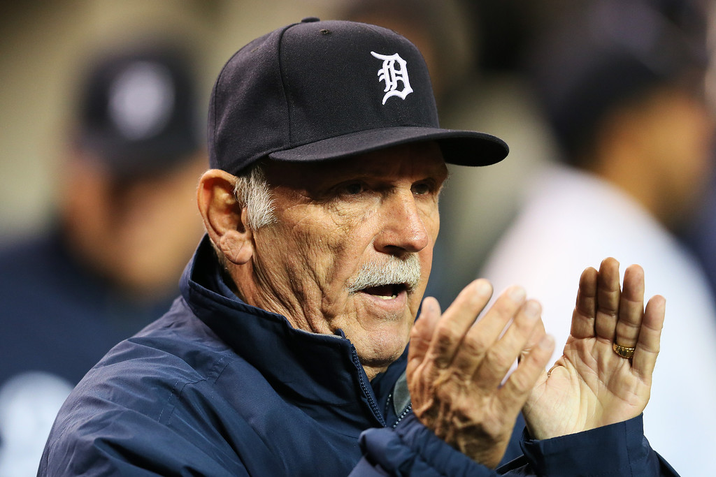 . DETROIT, MI - OCTOBER 08:  Manager Jim Leyland #10 of the Detroit Tigers reacts during Game Four of the American League Division Series against the Oakland Athletics at Comerica Park on October 8, 2013 in Detroit, Michigan.  (Photo by Rob Carr/Getty Images)