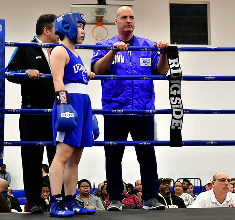 3/16/2019 Mike Orazzi | Staff UConn Boxing Coach Mike Campisano during a 115 match between West Points Ahliyah Lablue (red) and UConns Corona Zhang (blue) at the National Collegiate Boxing Association National Qualifier held at the Bristol Boys & Girls Club in Bristol, Conn. on Saturday.