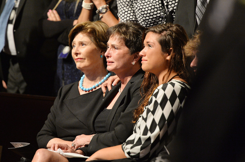 . (L-R) Former US First Lady Laura Bush, Nancy Jones, and Breanne Hohimer attend the funeral service for George Jones at The Grand Ole Opry on May 2, 2013 in Nashville, Tennessee.  (Photo by Rick Diamond/Getty Images for GJ Memorial)