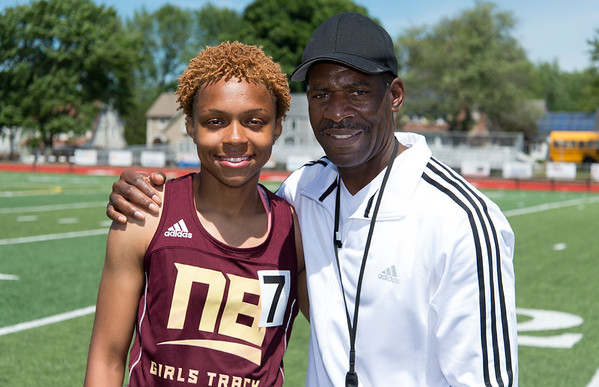 06/12/19 Wesley Bunnell | Staff Raven Jarrett became the first member of the New Britain High School girls track and field team to win the heptathlon with her performance on June 12, 2019 at Manchester High School. She held first place after day one on June 11, 2019 before slipping to second place on day two but would win the event with her finish in the 800 meter. Raven Jarrett poses with girls coach Darwin Shaw.