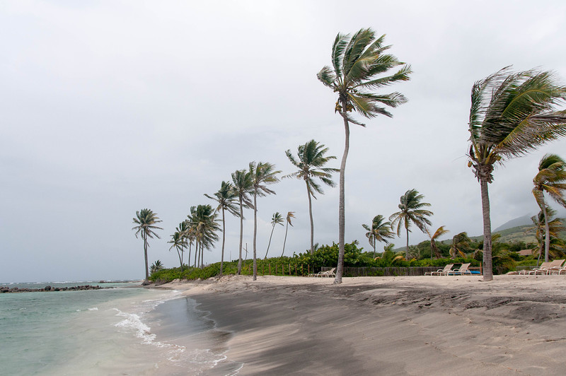 Strong winds on Nisbet beach - Nevis Island