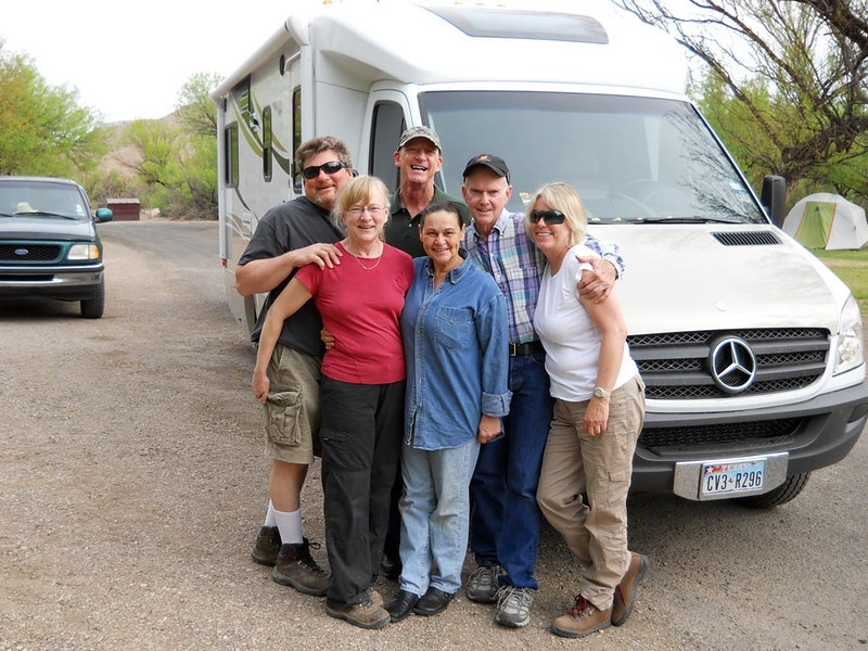 THE GANG The major players in this little traveling menagerie -- Wayne, Mary, Greg, Lynne, Jerry, and Mev. They all met up in San Angelo, where Greg and Jerry live, and traveled to Ft Davis and the Big Bend area together as one big happy family. I was so glad they invited me to join them at the tail end. Being Spring Break, I had to work.