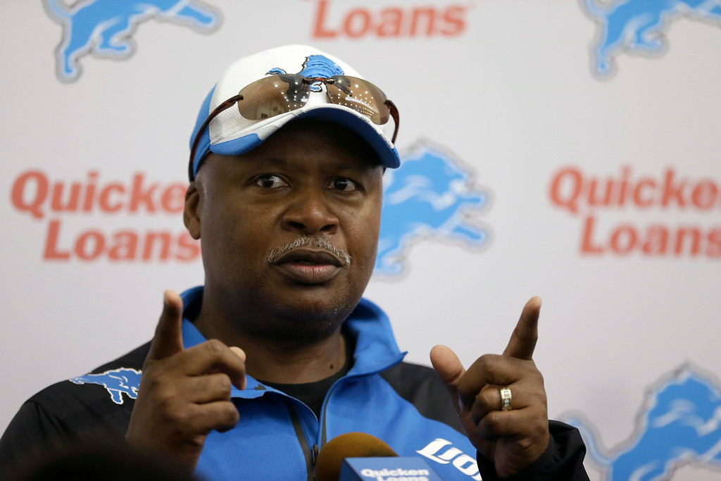 . Detroit Lions head coach Jim Caldwell addresses the media after an NFL football minicamp in Allen Park, Mich., Wednesday, June 11, 2014. (AP Photo/Carlos Osorio)