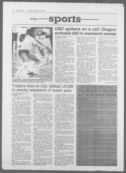 Daily Trojan, Vol. 105, No. 38, October 27, 1987