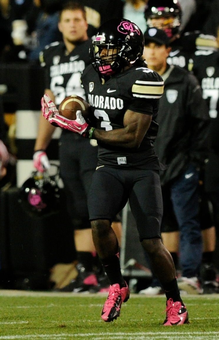 . BOULDER, CO. - OCTOBER 26: Colorado receiver D.D. Goodson hauled in a pass in the first half. The University of Colorado football team hosted Arizona Saturday night, October 26, 2013. Photo By Karl Gehring/The Denver Post