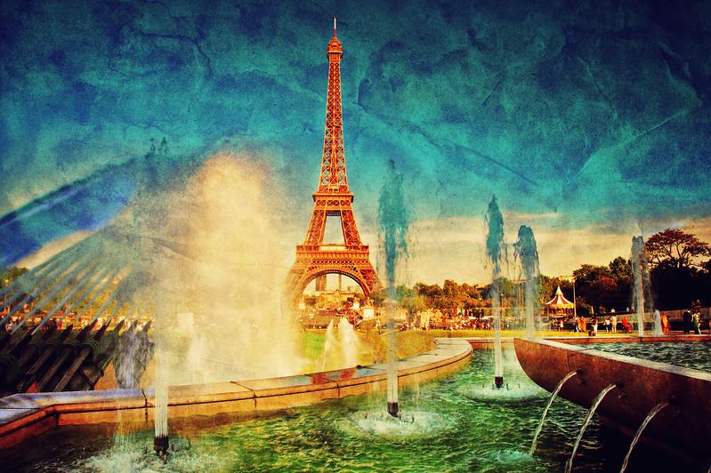 Eiffel Tower and fountain, Paris, France. Vintage