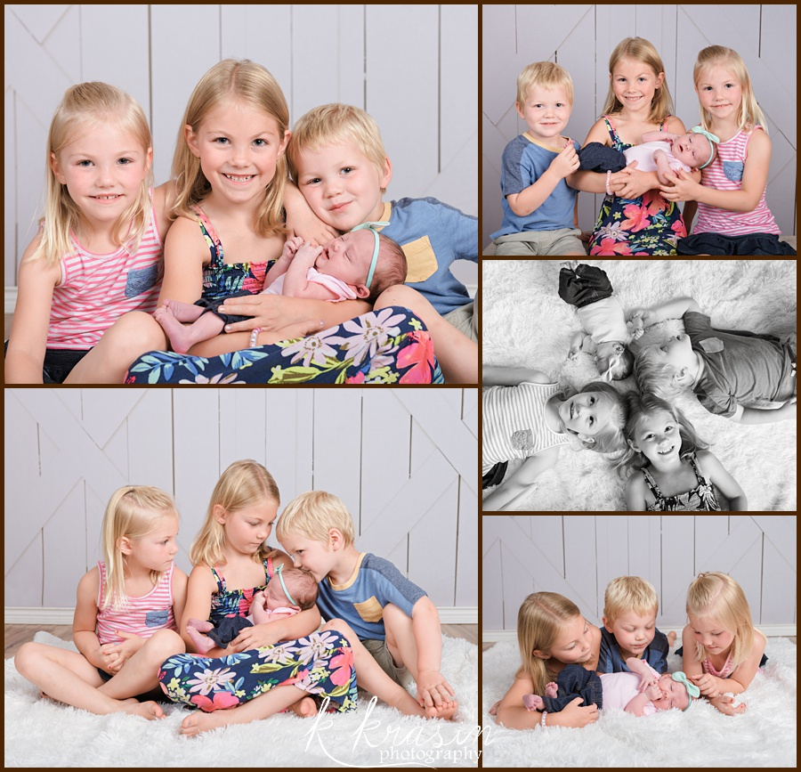 Collage of photos of two girls, a boy, and a newborn girl