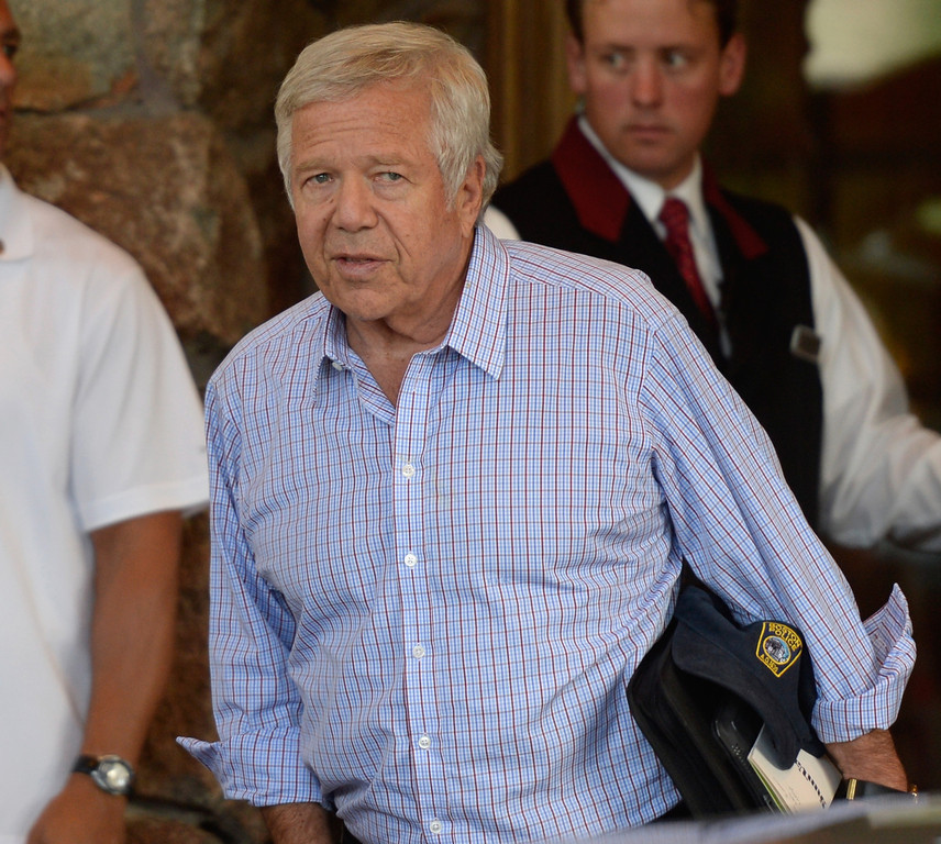 . Robert Kraft, New England Patriots owner and Chairman and Chief Executive Officer of The Kraft Group, arrives for the annual conference on July 9, 2013 in Sun Valley, Idaho. The resort will host corporate leaders for the 31th annual Allen & Co. media and technology conference where some of the wealthiest and most powerful executives in media, finance, politics and tech gather for weeklong meetings which begins Tuesday. Past attendees included Warren Buffett, Bill Gates and Mark Zuckerberg.  (Photo by Kevork Djansezian/Getty Images)
