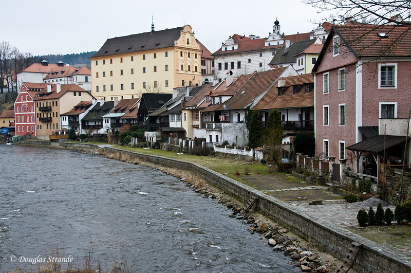 Houses along the Cesky Krumlov waterfront