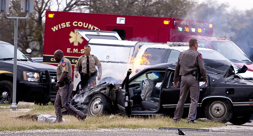 . A high speed pursuit that started with a deputy getting shot in Montague County ended with law enforcement and the suspect exchanging gunfire at a busy highway intersection in Decatur, Thursday, March 21, 2013. (Wise County Messenger/Jimmy Alford)