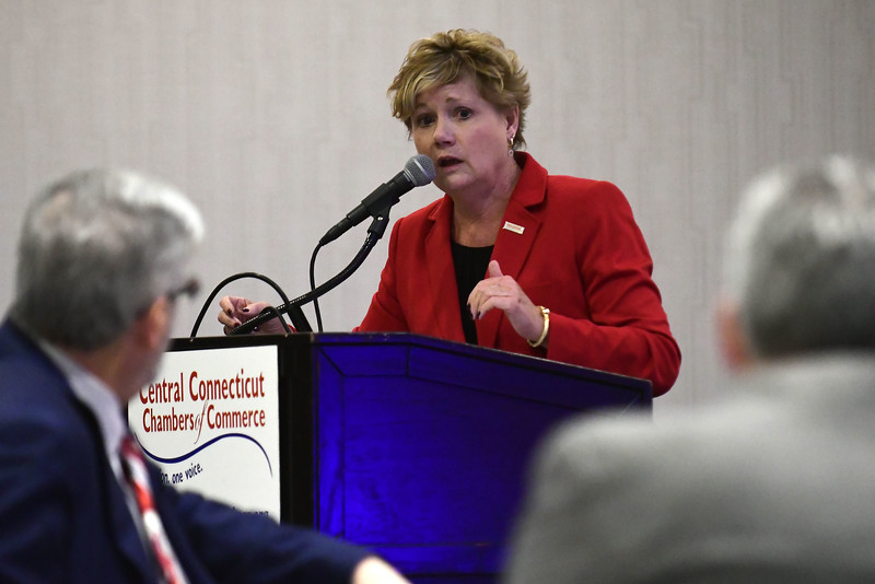 1/24/2017 Mike Orazzi   Staff Cindy Scoville, President & CEO Central CT Chambers of Commerce, during the Central Connecticut Chambers of Commerce's annual Legislative Breakfast held at the DoubleTree by Hilton Tuesday morning in Bristol.