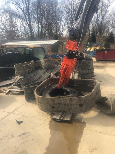 NPK K4JR demolition shear on Deere 50G - tire cutting demo - Harmony PA  2-20 (15).jpg