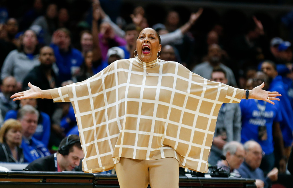 . Buffalo head coach Felisha Legette-Jack reacts to a foul call during the second half of an NCAA college basketball game against Central Michigan in the championship of the Mid-American Conference tournament Saturday, March 10, 2018, in Cleveland. Central Michigan won 96-91. (AP Photo/Ron Schwane)