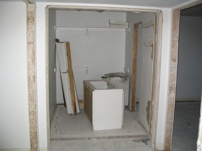 Future laundry room with the closet for the guest bedroom behind it.