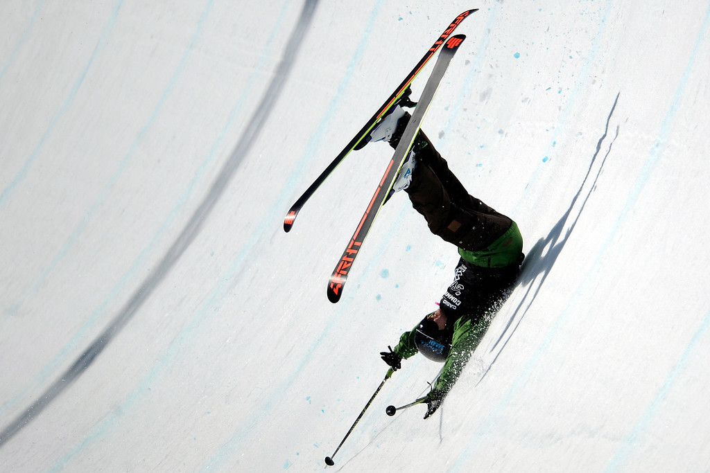 . Keltie Hansen wrecks during the skiing super pipe final at Winter X Games 2012 at Buttermilk Mountain in Aspen on Saturday, January 28. AAron Ontiveroz, The Denver Post
