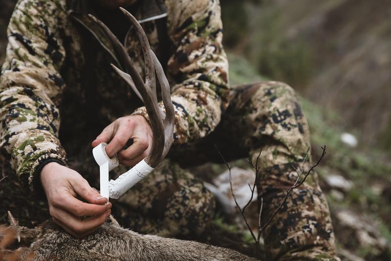 Austin Heinrich (no IG) tagging his Idaho mule deer buck. November 2017