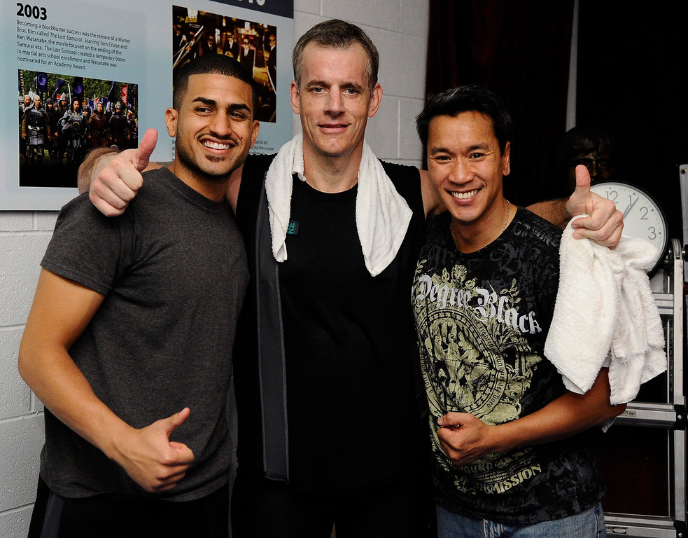 . (L-R) Raul Garcia , Actor/stuntman Ron Sarchian and Ky Gray pose together after Ron Sarchian set a new Guinness world record by full contact kicking a bag 6,000 times in one hour and did it by 6,012 at the Martial Arts History Museum in Burbank.  The last record for this was set in 2007 and Ron Sarchian  now hold\'s 6 guinness world records Photo by Gene Blevins/LA Daily News
