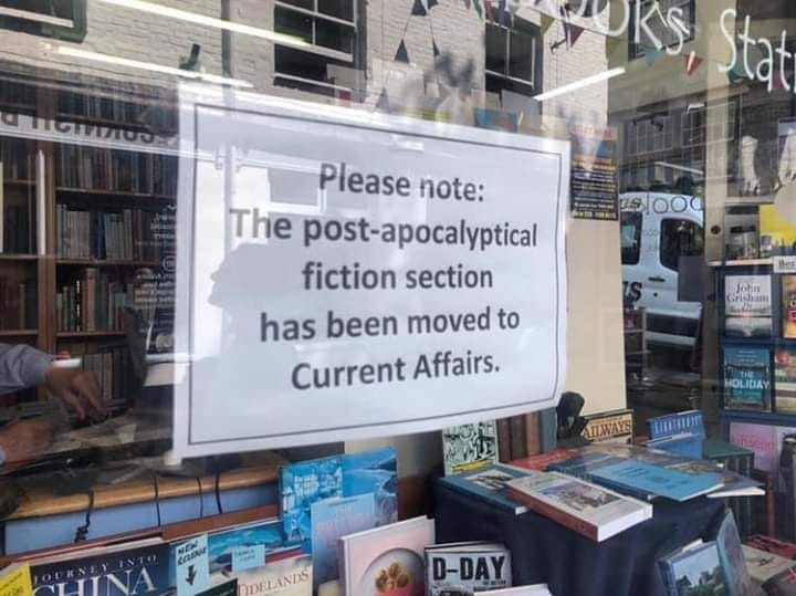 A funny meme I saw: Bookstore window says,