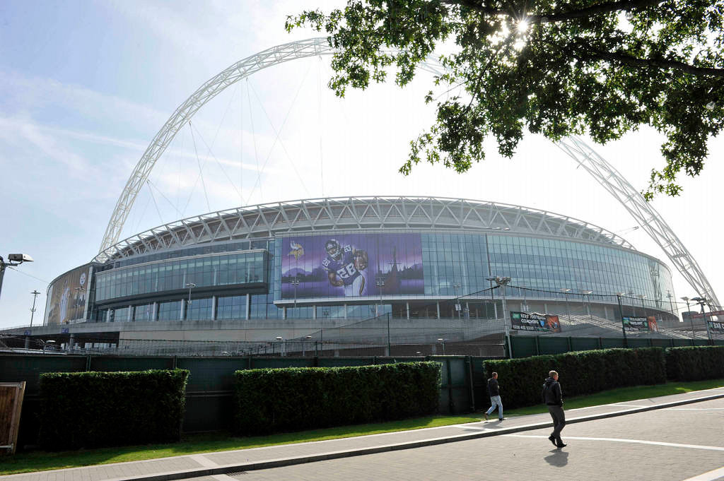 . A view of Wembley Stadium in London on Tuesday, Sept. 24, 2014. The Vikings will face the Pittsburgh Steelers in the NFL International Series at Wembley Stadium on Sunday, Sept 29. (NFL: Sean Ryan)