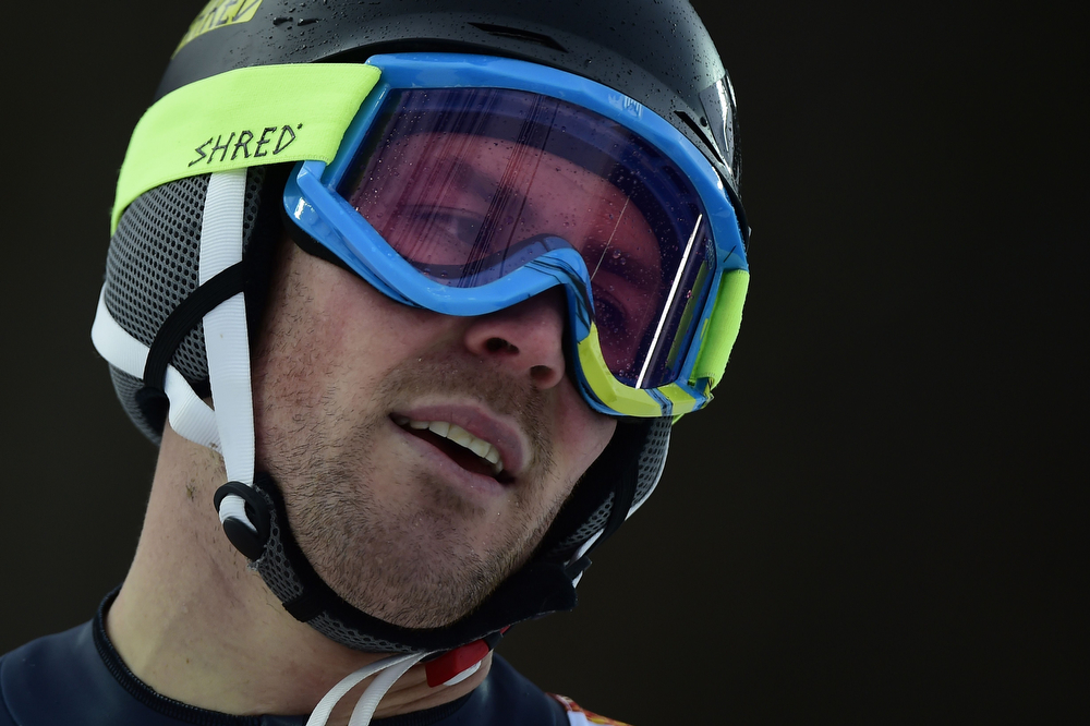. US David Chodounsky reacts during the Men\'s Alpine Skiing Slalom Run 1 at the Rosa Khutor Alpine Center during the Sochi Winter Olympics on February 22, 2014.         (OLIVIER MORIN/AFP/Getty Images)