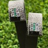 Art Deco Diamond and Emerald Disc Earrings 21