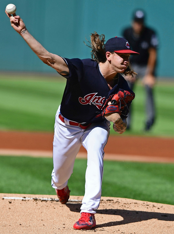 . Cleveland Indians starting pitcher Mike Clevinger delivers in the first inning of a baseball game against the Detroit Tigers, Saturday, Sept.15, 2018, in Cleveland. (AP Photo/David Dermer)