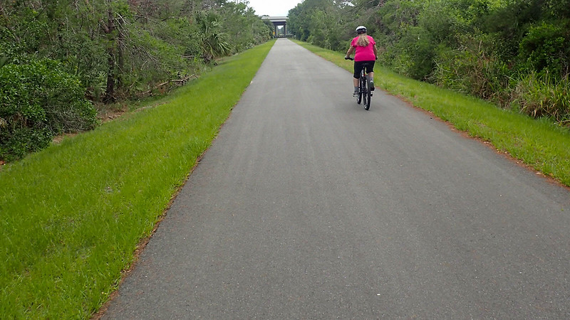 Bike path with cyclist in pink