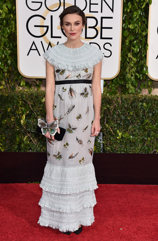 . Keira Knightley arrives at the 72nd annual Golden Globe Awards at the Beverly Hilton Hotel on Sunday, Jan. 11, 2015, in Beverly Hills, Calif. (Photo by John Shearer/Invision/AP)