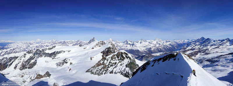 Castor summit ridge with the Breithorn summits behind on a row.