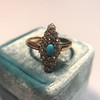 Victorian Turquoise and Diamond Navette Ring 13
