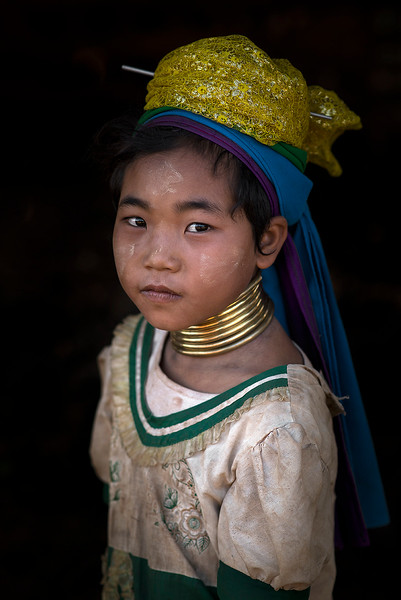 Portrait of a little girl from the Kayan tribe.  Kayah, Myanmar,2017