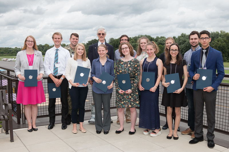 "The 2018 Awardees: Front Row from left: Alyson Barker, Kathryn Wolfinger, Sophie Hourihane, Ella Mullikin, Gabrielle Engelmann-Suissa, German Saltar. Back row from left: Katherine Melbourne, Tyler McCabe, Joel Chapman, Dr. John Mather, Mark Moretto, Madeline Roach, Jillian Kunze, Jack Miller. Not present: Margaret Lazzarini, Samantha Wallace. -- An award luncheon, ""Dr. John Mather Nobel Scholars Program Award"", as part of the National Space Grant Foundation. College Park Aviation Museum, College Park, MD, August 3, 2018."