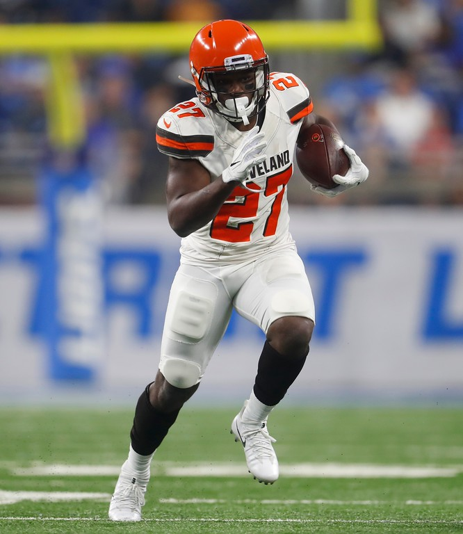 . Cleveland Browns running back Matt Dayes rushes during the first half of an NFL football preseason game against the Detroit Lions, Thursday, Aug. 30, 2018, in Detroit. (AP Photo/Paul Sancya)