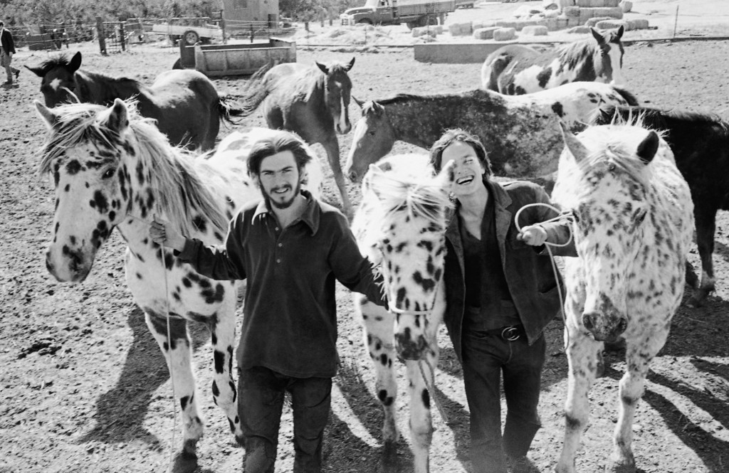 ". Two members of the Charles Manson ""family,\"" Pat, left, and Rocky hold three Appaloosa horses at the George C. Spahn ranch where  Manson and his followers once camped, shown March 19, 1971. Only a few of the members remain at the ranch now located 40 miles northwest of the Los Angeles courtroom where Manson has been on trial for 10 months in the slaying of Sharon Tate and seven others. (AP Photo/George Brich)"