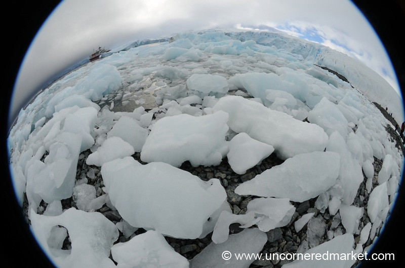 Fisheye of Ice, Glaciers and our Boat - Antarctica