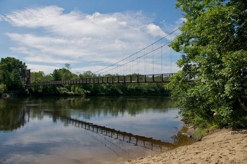 A John Roebling Suspension Bridge - near Belfast, Maine, crossing the Androscoggin River