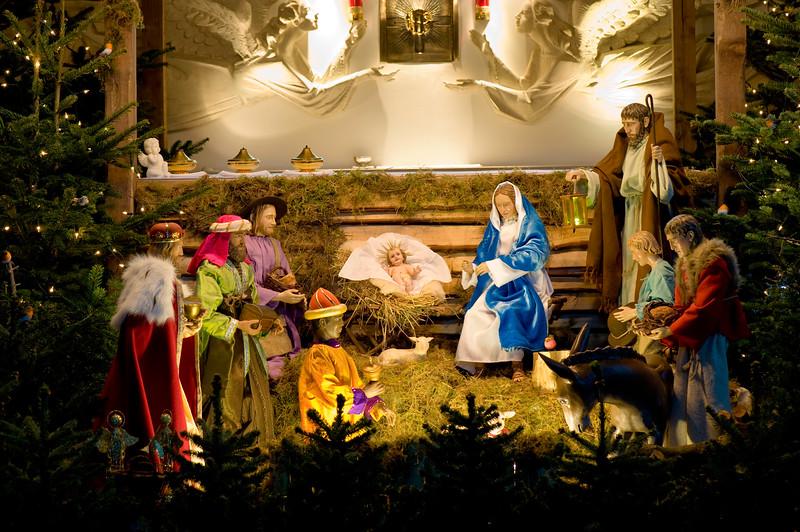 Nativity Scene in Polich Catholic Church, Ealing, London, United Kingdom A nativity scene, crèche, or crib, is a depiction of the birth of Jesus