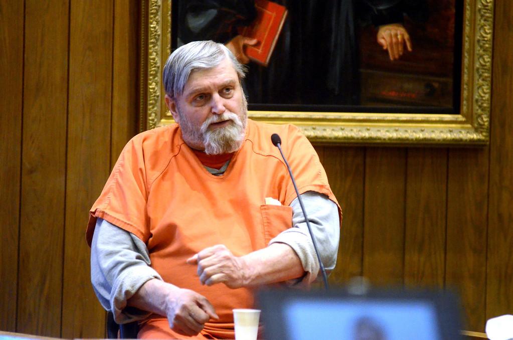 . David Casey testifies in the Adam Hall trial in Springfield on Wednesday, January, 22, 2014. Gillian Jones/Berkshire Eagle Staff