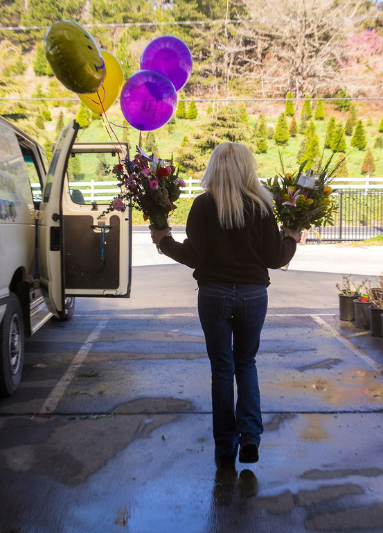 . Kathie Repetto loads van with flowers for delivery at Repetto\'s Greenhouse Florist and  in Half Moon Bay, Calif. on Wednesday, Feb. 13, 2013. The coastside florist expects to be busy on Thursday. (John Green/Staff)