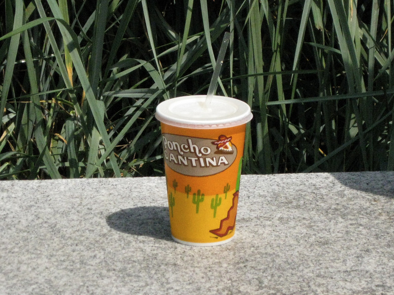 Poncho Cantina has new, themed cups. I snuck a photo of someone's drink while it was set on a bench.